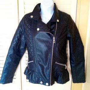 Faux Leather Skirted Jacket Girl Size XL 16
